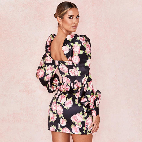 Floral Print Sexy Backless Chic Fashion Puff Sleeve Mini Dresses