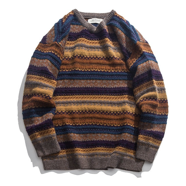 Striped Casual Hip Hop Knit Pullover Big Sizes Sweater Jacket