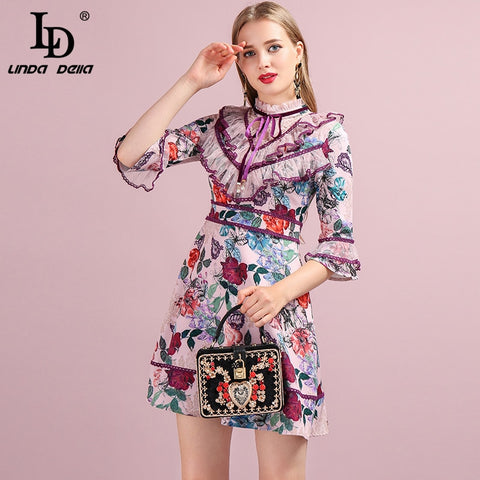 Runway Designer Flare Sleeve Gorgeous Lace Printed Elegant Slim Lady Dresses