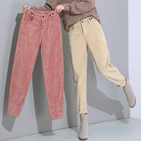 High Waist Corduroy Harem Pants Plus Size Loose Black Pants