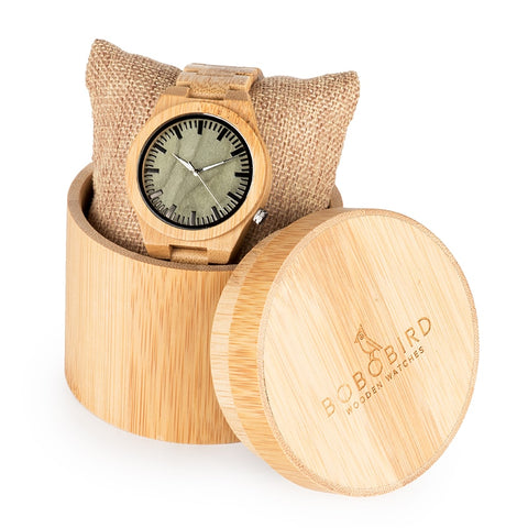 Bamboo Wristwatch Ghost Eyes Strap Glow Analog Wood Watches