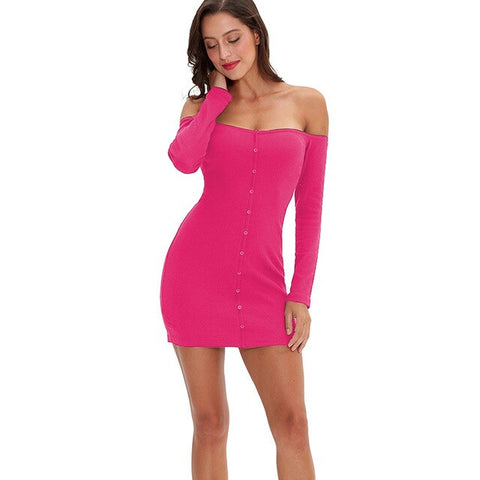 Sexy off shoulder Long Sleeve Button Bodycon Casual Solid Mini Dress