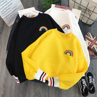 Harajuku Rainbow embroidery fleece Hoodies Sweatshirts