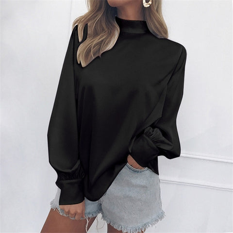 Solid Color Turtleneck Tops Blouses Casual Lantern Long Sleeve