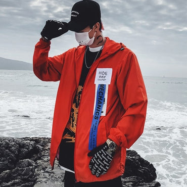 Color Block Jacket Streetwear Hip Hop Windbreaker Jacket