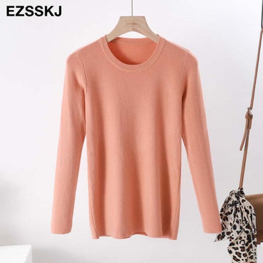casual o-neck basic Cashmere Solid Knit sweater