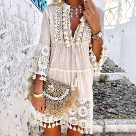 Sexy V-Neck Boho Tassel Hollow Out Mini Dresses