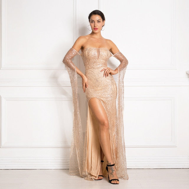 Gold Glittered Slash Neck Party Backless Hollow Out Split Leg Floor Length Dress