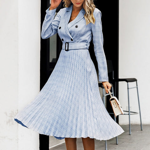 Aartiee Elegant ladies Blazer Button belt long sleeve dress