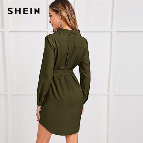 Button Front Belted Shirt Loose Solid Long Sleeve Short Casual Dresses