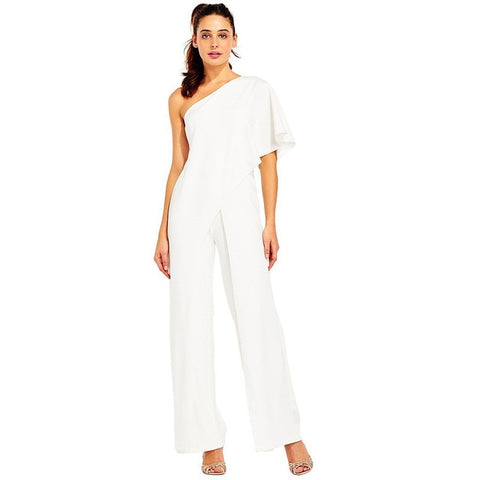 Off Shoulder Rompers White Jumpsuit Long Wide Leg Pants