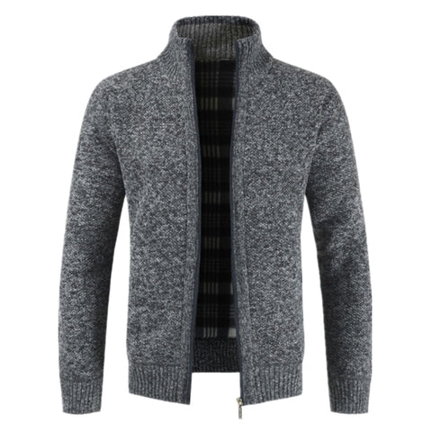 Slim Fit Stand Collar Zipper Solid Cotton Thick Warm Jacket