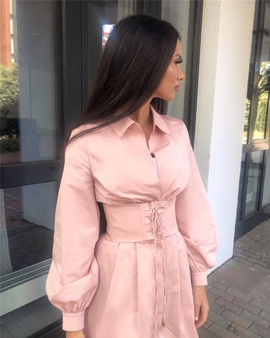 Long Sleeve Party Sexy Casual Fashion Vintage Corset-style Belt Shirt Dress