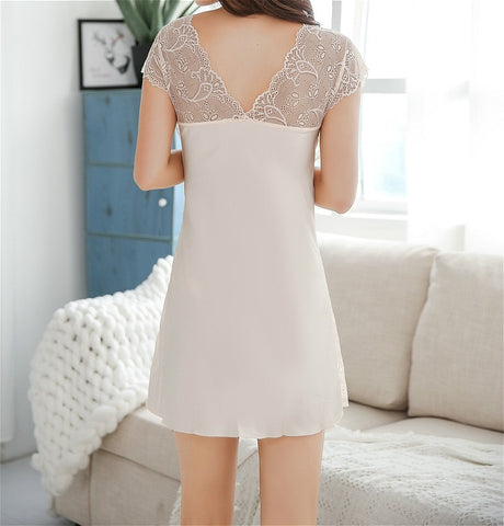 Deep V Neck Satin Nightgown Sexy Lace Sleepwear Silk Dress