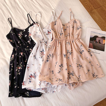 Sleeveless Floral Jumpsuits Beach Wide Leg Overalls Fashion