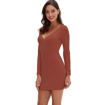 Women Sexy Deep V-Neck Long Sleeve Bodycon Elegant Mini Dress