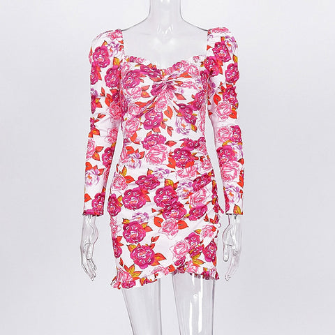 Elegant Backless Long Sleeve Anomalistic Hem Fall Wrap Floral Dresses