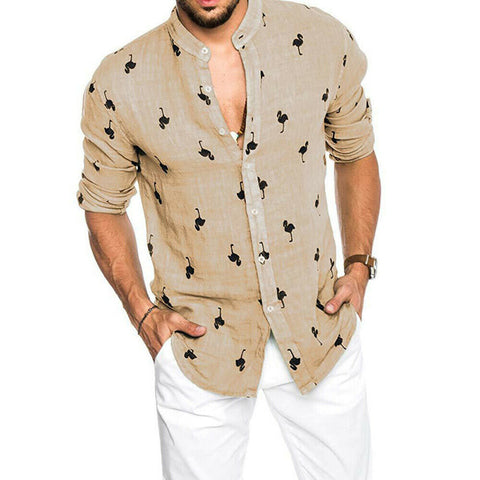 Cool Linen Slim Fit Long Sleeve Loose Casual Stand Collar Dress Shirts
