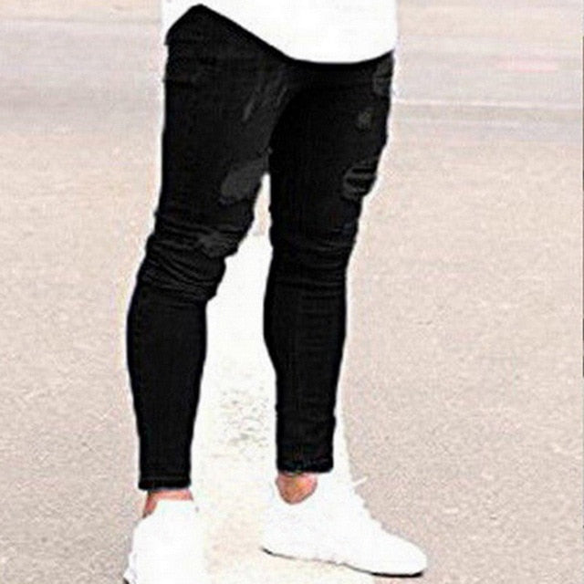 New Fashion Streetwear Destroyed Ripped Design Pencil Pants Jeans