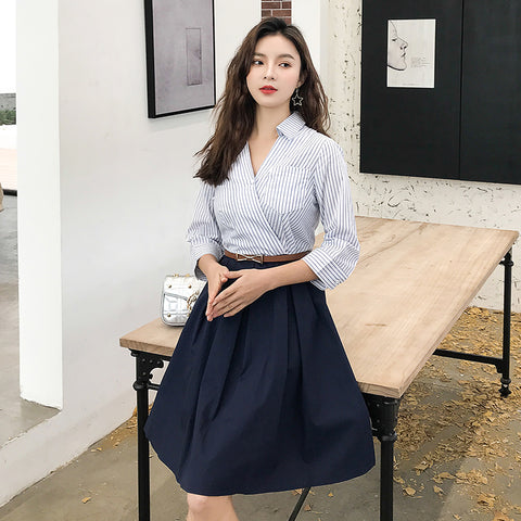 Office Lady Plus Size Fashion Shirts Maxi Elegant Striped Dresses