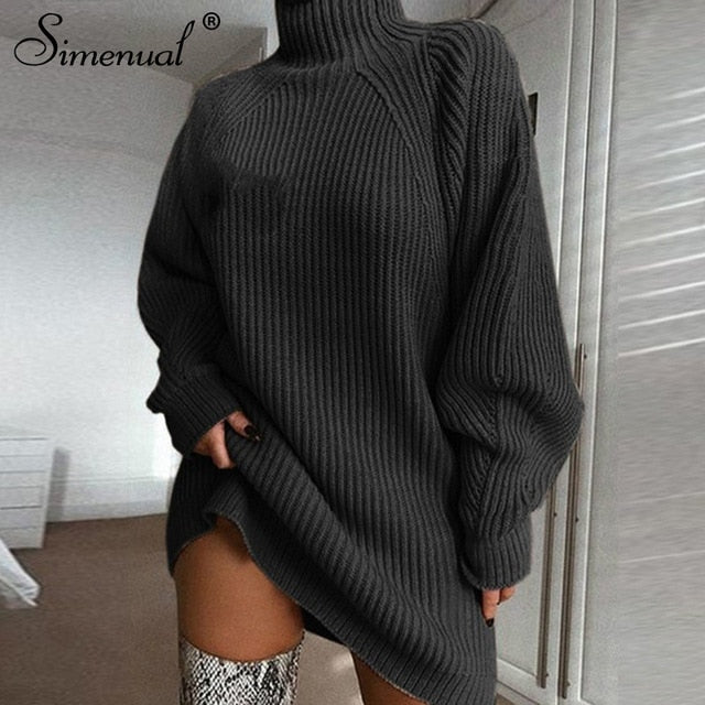 Knitting Turtleneck Sweater Fashion Solid Long Sleeve Dresses