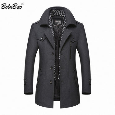 Wool Coat New Casual Brand Solid Color Wool Blends