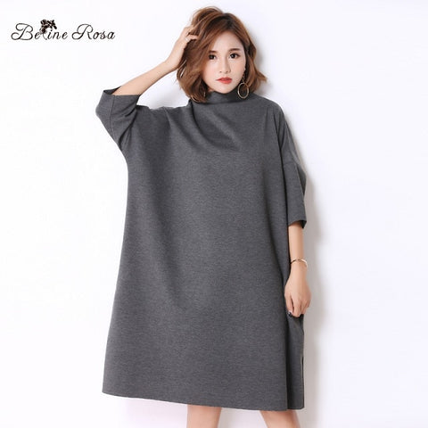Casual Pure Collar Turtleneck Neck Shirt Plus Size Dresses