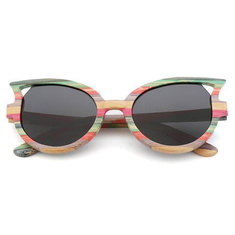 retro polarized luxury hand-made bamboo butterfly-shaped Sunglasses