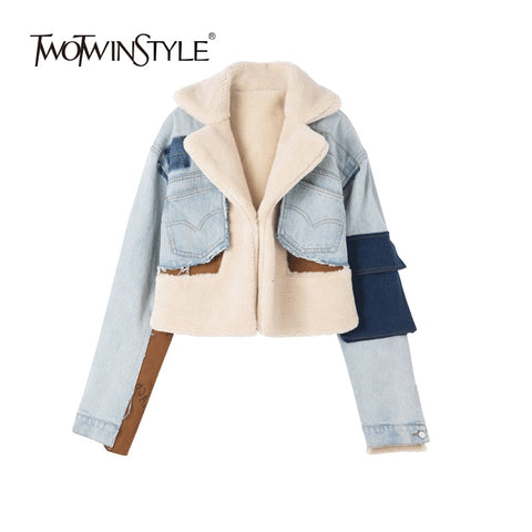 Denim Jacket Hit Color Long Sleeve Patchwork Pocket Irregular Coats