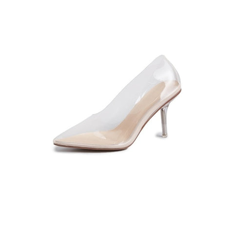 pumps transparent sexy ladies pointed toe slip-on women wedding party Heels