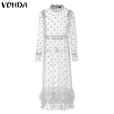 Bohemian Vintage Dot Print Hollow Floor-Length Sexy Party Vestido Dress