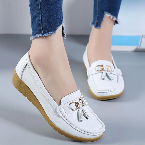 genuine leather flats ladies shoes female cutout slip ballet flat loafers