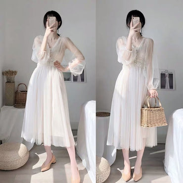 V-neck Puff Sleeve Mesh Fairy Tulle Lace Dress Elegant Long Dress