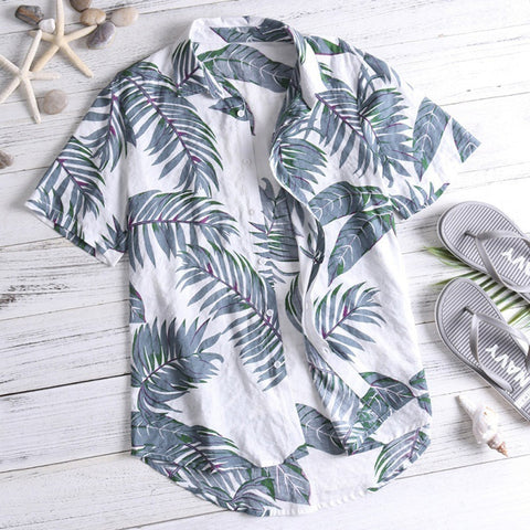 Camisa Casual Button Beach Loose Male Blouse Top Streetwear Short Sleeve Shirts
