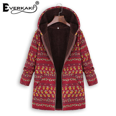 Boho Jacket Plus Size Thick Velvet Zipper with Hat Pockets Coats