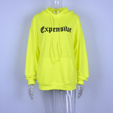 Long Sleeve Neon Green Hooded Letters Print Loose Casual Sweatshirt