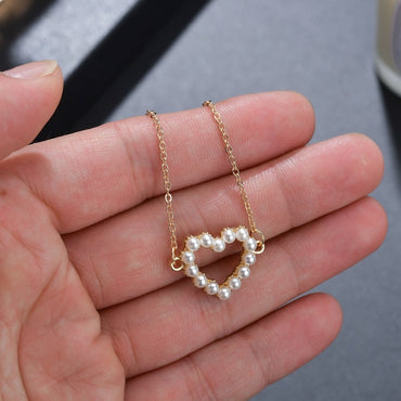 Alloy Hollow Heart Pendant Pearl Gold Necklace