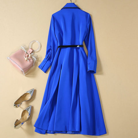 Work Party Sexy Vintage Elegant Chic Blue Long Sleeve Dresses