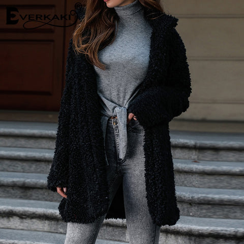 Faux Lambs Fur Jackets Coats Boho Solid Thick Ladies Teddy Long Coat