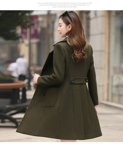 Long Slim Blend Outerwear Overcoat Wool Coat High Quality