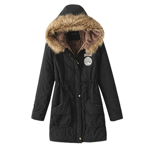 Fur Collar Slim Zipper Outerwear Parkas Female Jacket Coats