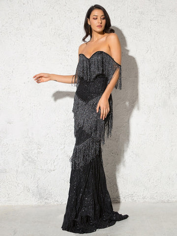 Off The Shoulder Glittered Maxi Strapless Elegant Shiny Long Dresses