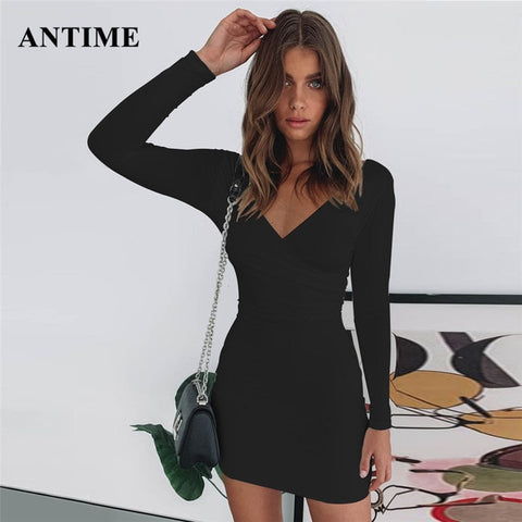 Bodycon Club Party Long Sleeve V Neck Sheath Tunic Sexy Ladies Dress