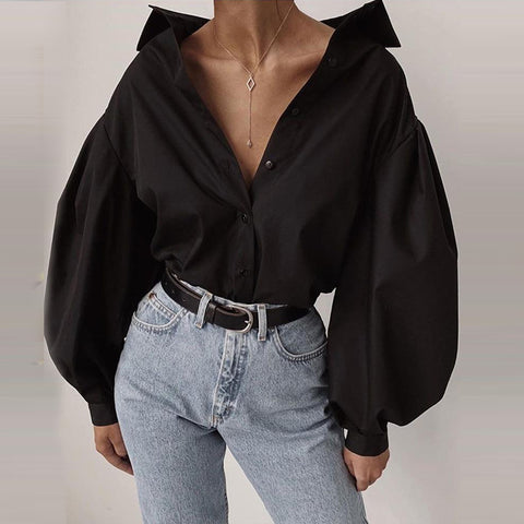 Fashion Lantern Sleeve Casual Shirt Blouse Solid Black Long Sleeve