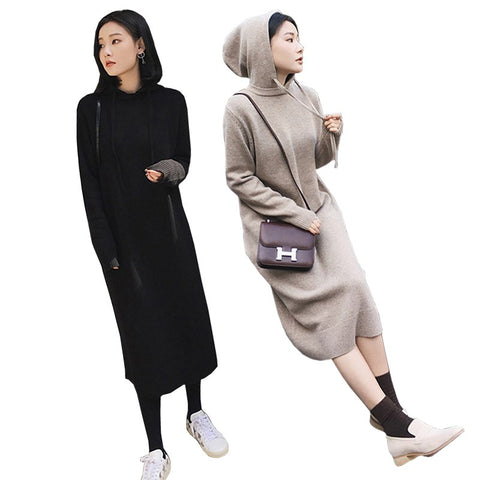 Sweatshirts Hooded Long Midi Length Casual Loose Basic Dress