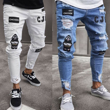 Pant Vintage Ripped Super Skinny Fit Zipper Denim Destroyed Frayed Jeans