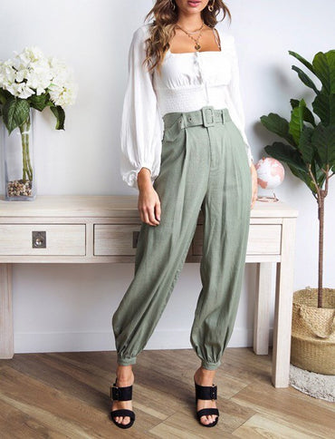 Loose High Waist Harem Pants Pleated Morandi Color