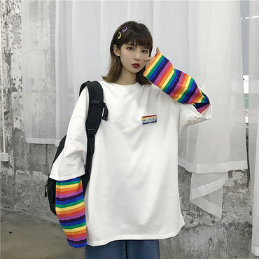 Fake Two Pieces Rainbow Striped Long Sleeve Casual T-shirt