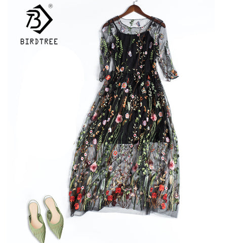 Embroidery Party Runway Floral Bohemian Flower Vintage Boho Mesh Dresses