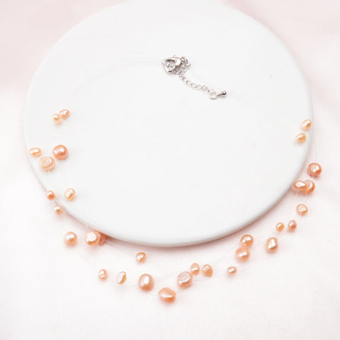 Multilayer White Natural Baroque Pearl Choker Simple Style Handmade Necklaces
